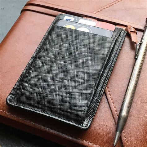 Saffiano Leather Card Holder With Rfid Protection By