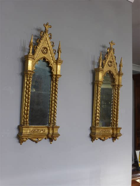 Pair of Gothic mirrors, small gilt mirrors : Antique Wall